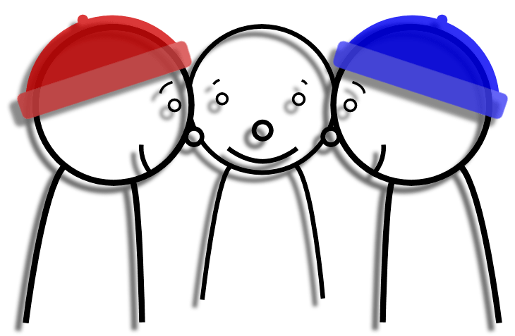 three men in red and blue hats