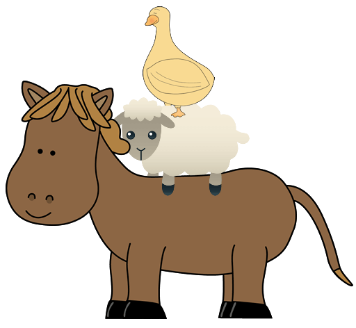 picture of a horse, sheep and duck