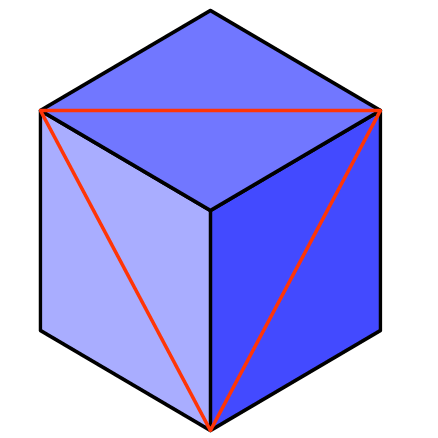 cube with viewed in the plane of the triangle