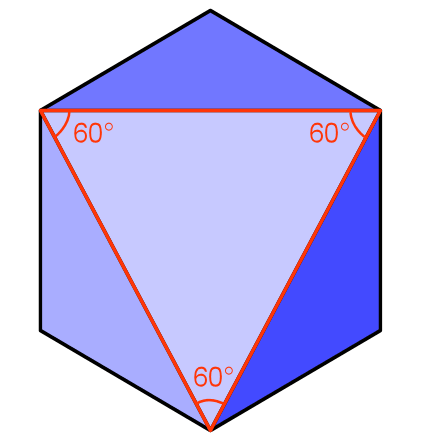 cube with viewed in the plane of the triangle with section removed and answer drawn on.