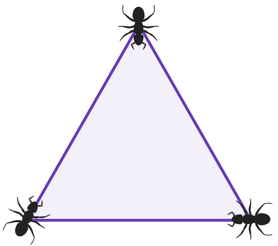 diagram of a triangle with 3 ants sat at each vertex