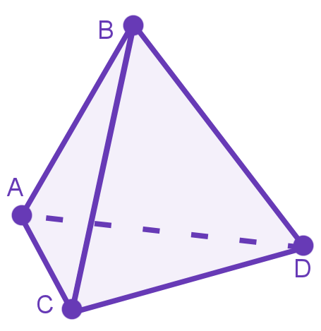 diagram of a pyramid with 4 ants sat one at each vertex