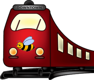 picture of a train with a bee on the front