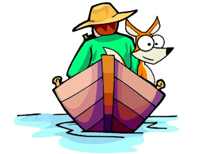 picture of a farmer and a fox in a boat.