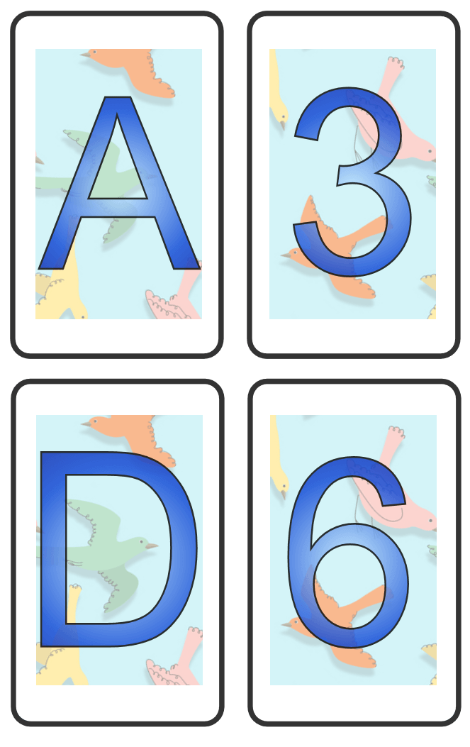 some playing cards with letters and numbers on one side A, D, 3 & 6