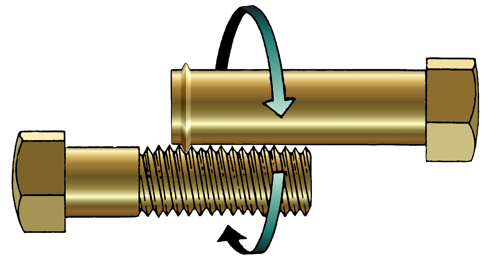 a special bolt with just a flange on the end interlocked with a regular bolt