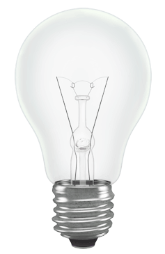 a bulb switched on
