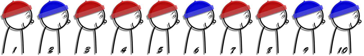 prisoners in a row wearing hats red blue red red red blue red red blue blue